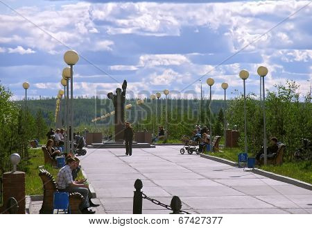 Nadym, Russia - June 13, 2005: City Street.