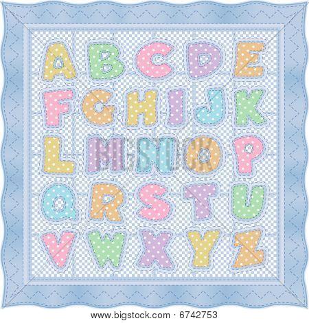 Alphabet Baby Quilt, Blue Pastel