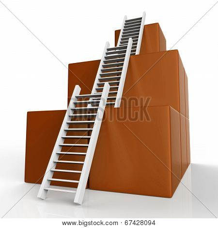 Success Ladders Shows Succeed Victor And Increase
