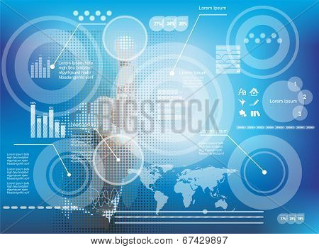 Businessman Pressing Business Diagram