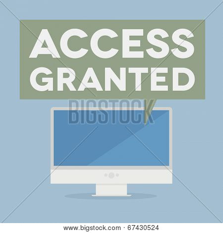 minimalistic illustration of a monitor with an access granted speech bubble, eps10 vector