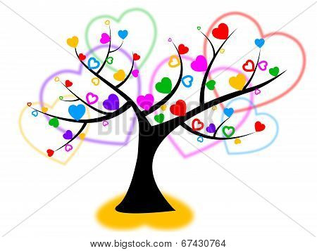 Heart Tree Indicates Valentines Day And Forest