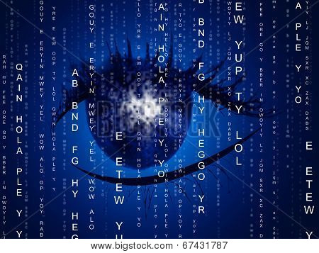 Eye Matrix Indicates Programming Computer And Optics
