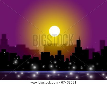 Sunset City Shows Night Time And Darkness
