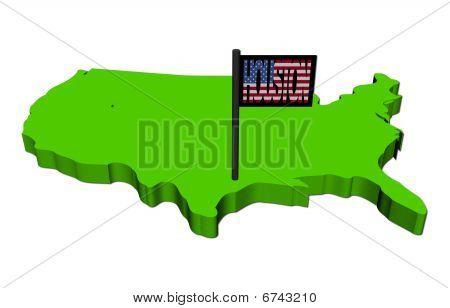 Karte von Usa mit Houston-flag