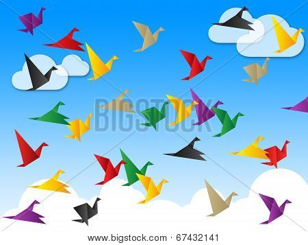 Flying Freedom Indicates Flock Of Birds And Escaped