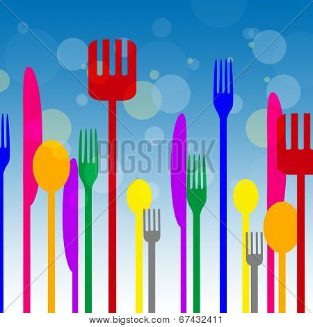 Spoons Forks Represents Knife Utensils And Cutlery