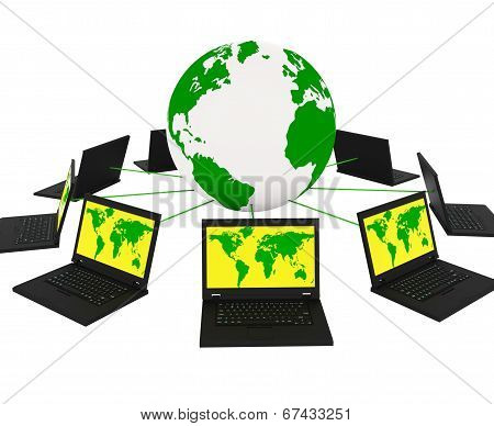 Global Network Means Networking Monitor And Planet