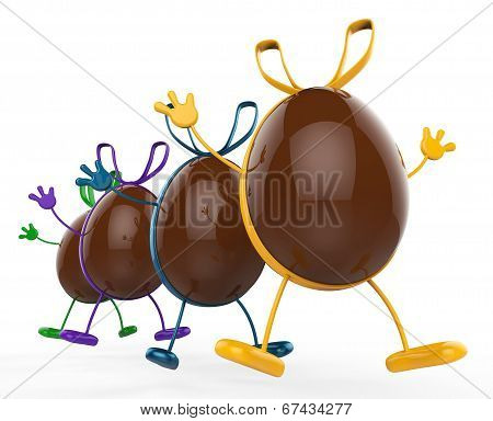 Easter Eggs Shows Gift Bow And Chocolate