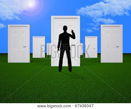 Doors Choice Shows Man Doorways And Direction