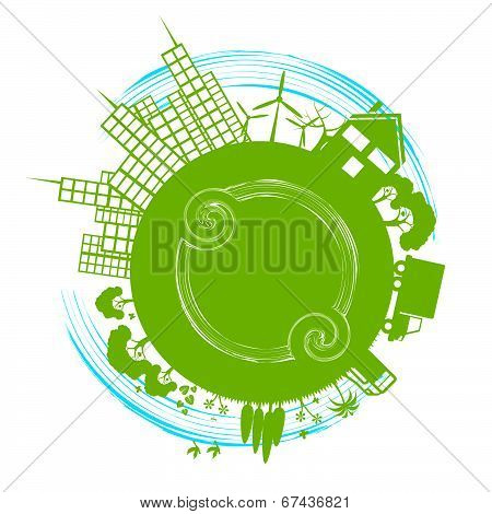 Eco City Represents Earth Day And Cityscape