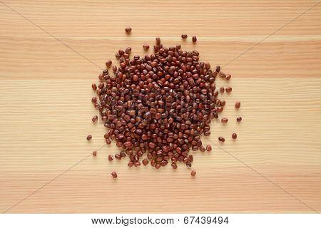 Adzuki, Aduki Or Azuki Beans On Wood