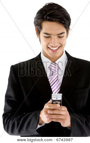 Business Man Texting On His Cel