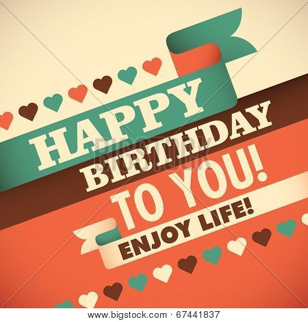 Birthday greeting card design. Vector illustration.