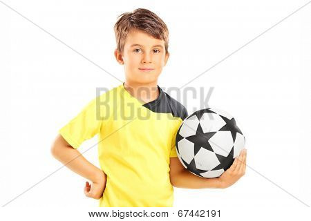 Male junior athlete holding a football isolated on white background