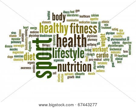 High resolution concept or conceptual abstract sport and health word cloud or wordcloud on white background