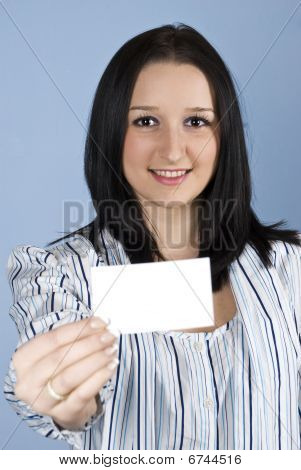 Business Female Give A Business Card