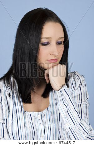 Sad Thinking Young Female