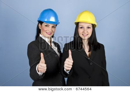 Architects Women Giving Thumbs