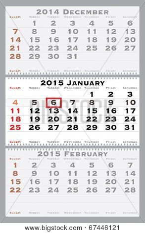 2015 january with red dating mark - current marked holiday is Epiphany - vector illustration