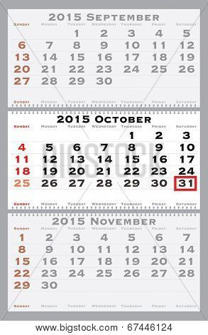 2015 october with red dating mark - current marked holiday is Halloween - vector illustration