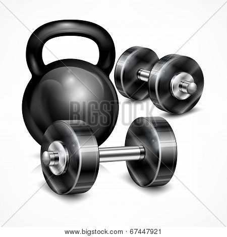Metallic Kettle Bell And Two Dumbbells