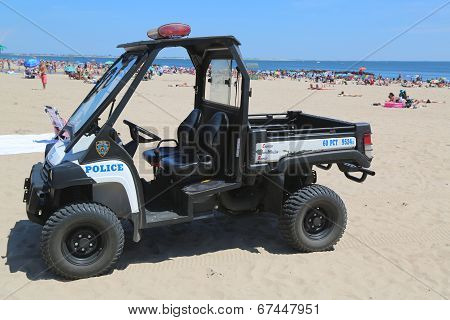 NYPD vehicle at Coney Island beach in Brooklyn