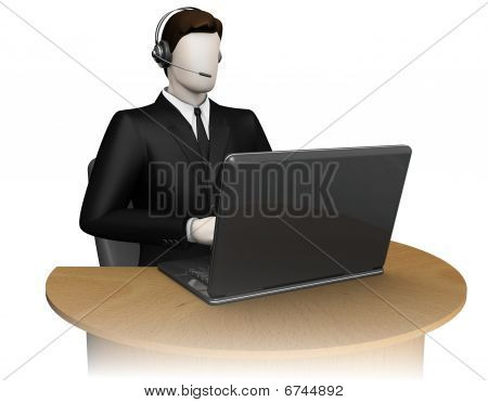 Businessman with headsets and notebook