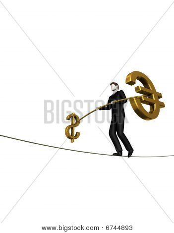 Businessman goes on a rope keeping balance
