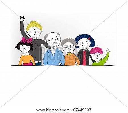 Big cartoon family with parents