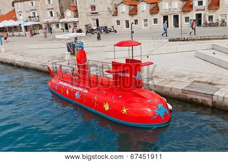 Red Semi-submarine In Trogir, Croatia
