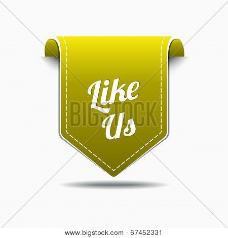 Like Us Yellow Label Icon Vector Design