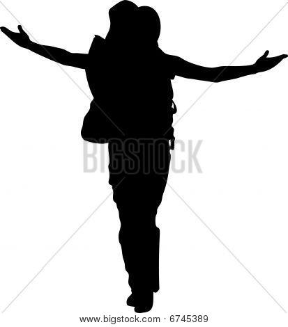 Hiking woman in black