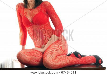 Woman In Red Mesh