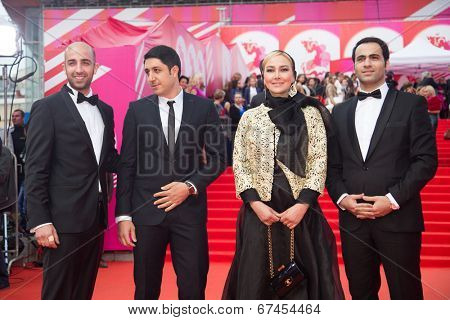 MOSCOW - JUNE, 19: Iranian director Majid-Reza Mostafavi, Ana Nemati. 36th Moscow International Film Festival. Opening Ceremony at Pushkinsky Cinema . June 19, 2014 in Moscow, Russia