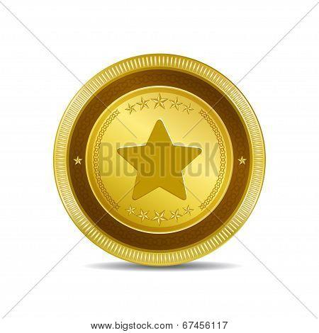 Star Circular Vector Gold Web Icon Button