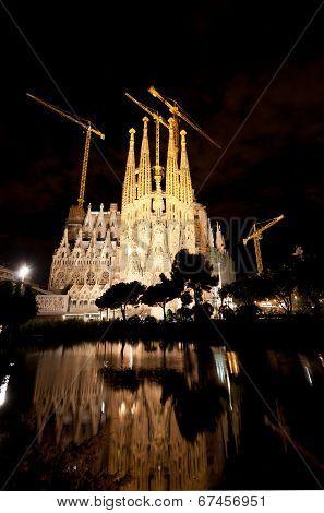 The Basilica of La Sagrada Familia at night