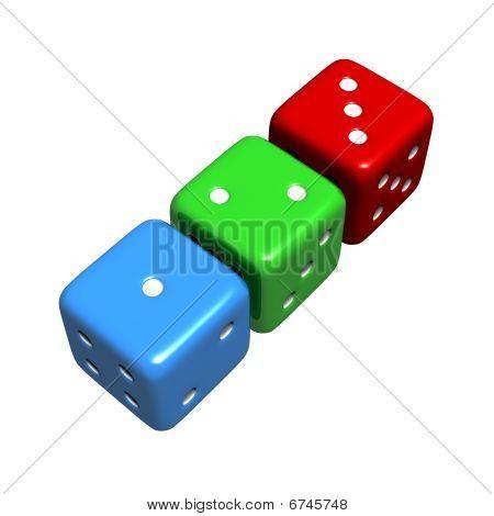 Lucky 1-2-3 Colourful Dice