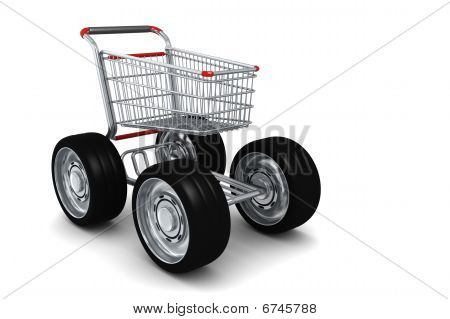 Shopping Cart With Big Wheels Isolated