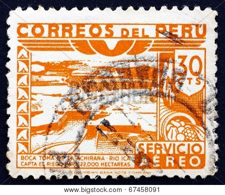 Postage Stamp Peru 1938 Dam, Ica River