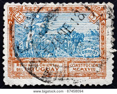 Postage Stamp Uruguay 1918 Liberty Extending Peace