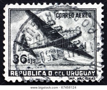 Postage Stamp Uruguay 1958 Four-motored Plane
