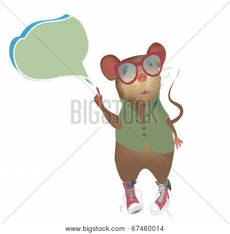 Mouse with speaking or think bubble
