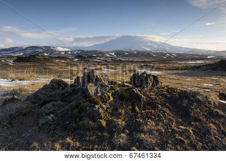 Frozen volcanic landscape.