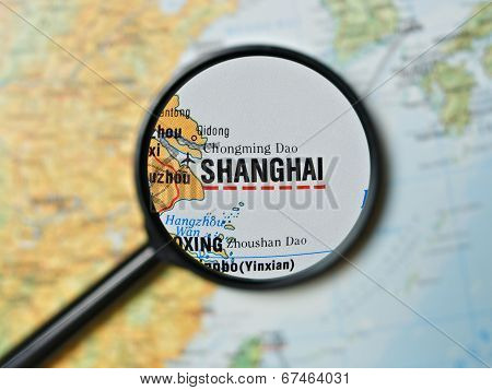 Shanghai magnified on a map