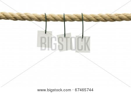 Three Cards Hanging Off A Rope