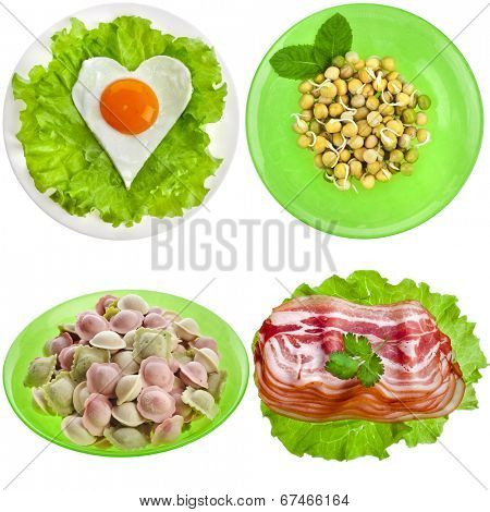 Tasty nutritious meals on a plate with dumplings, bacon, egg, pea sprouts isolated on white background