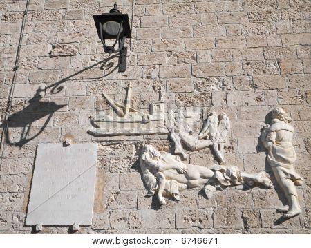 Castle Carlo V wall inscription. Monopoli. Apulia.
