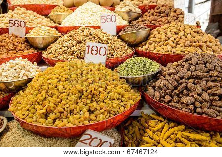 Mix of various dried fruits on sale
