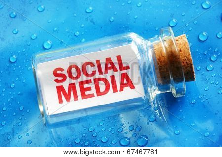 Social media message in a bottle concept for networking, communication and community help